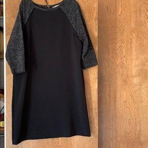 Loft Black/Grey 3/4 Sleeve Dress